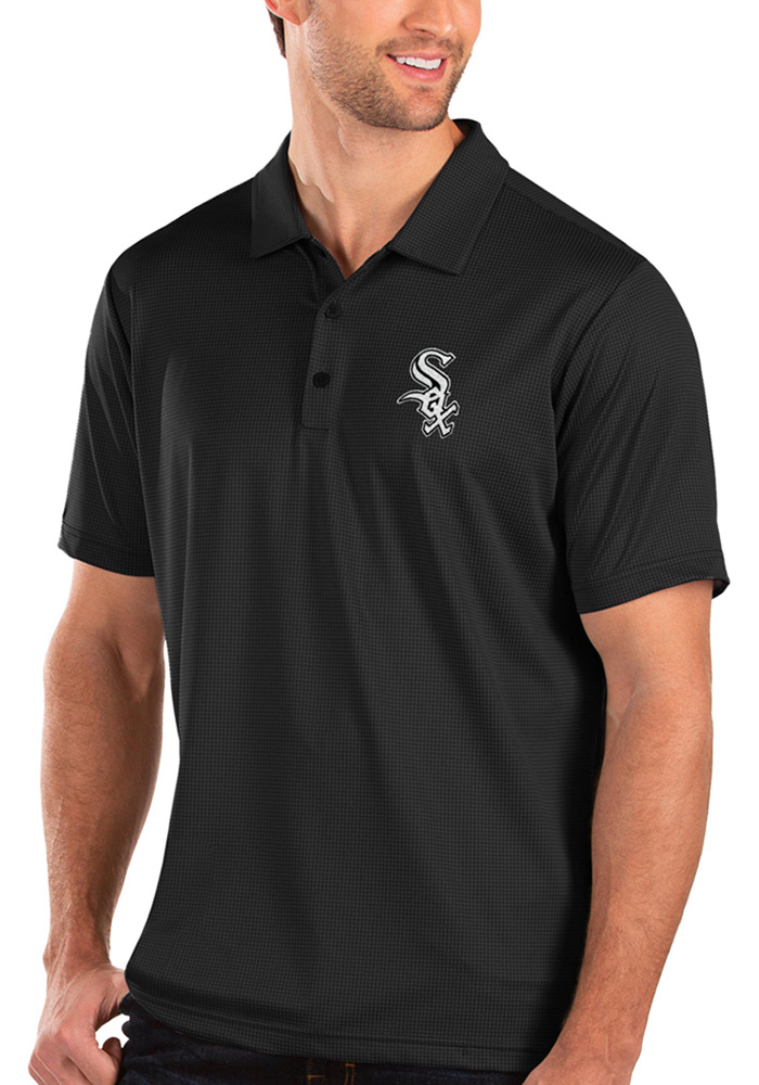 Antigua Chicago White Sox Mens Black Balance Short Sleeve Polo - Image 1