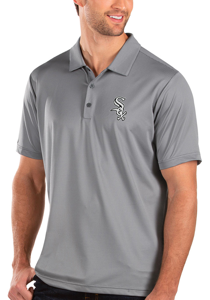 Antigua Chicago White Sox Mens Grey Balance Short Sleeve Polo - Image 1