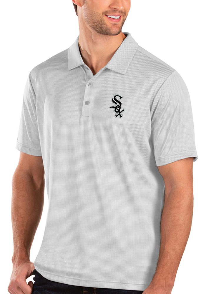 Antigua Chicago White Sox Mens White Balance Short Sleeve Polo - Image 1