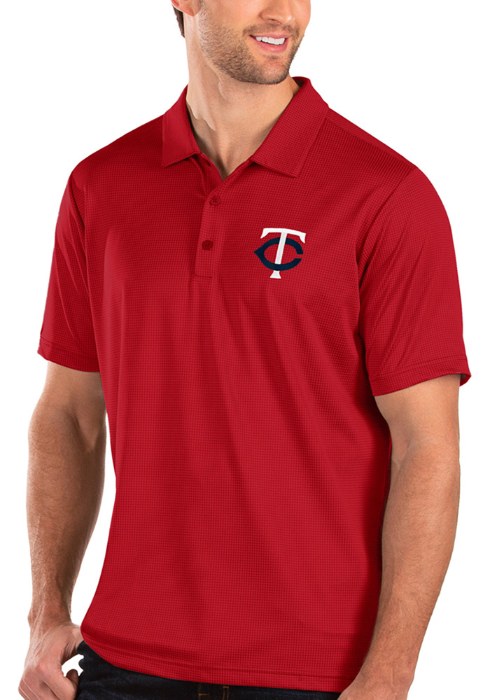 Antigua Minnesota Twins Mens Red Balance Short Sleeve Polo - Image 1