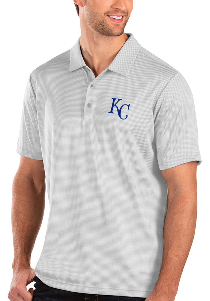 Antigua Kansas City Royals Mens White Balance Short Sleeve Polo - Image 1