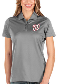 Washington Nationals Womens Antigua Balance Polo Shirt - Grey