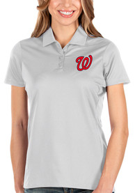 Washington Nationals Womens Antigua Balance Polo Shirt - White