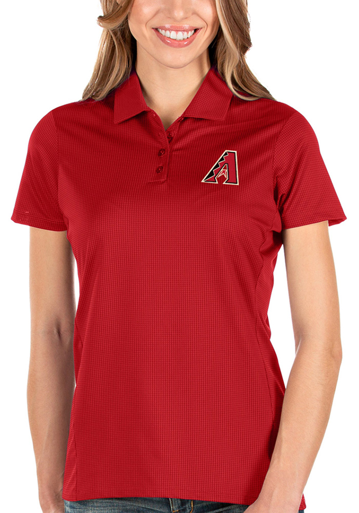 Antigua Arizona Diamondbacks Womens Red Balance Short Sleeve Polo Shirt - Image 1
