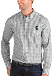 Antigua Michigan State Spartans Mens Grey Structure Long Sleeve Dress Shirt