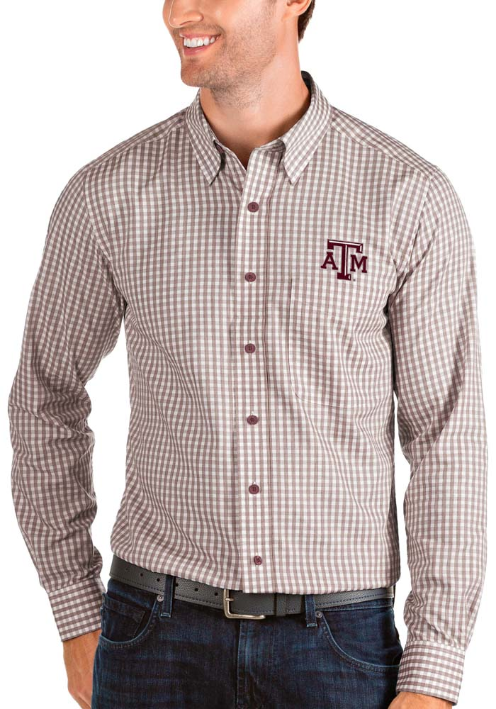 Antigua Texas A&M Aggies Mens Maroon Structure Long Sleeve Dress Shirt - Image 1