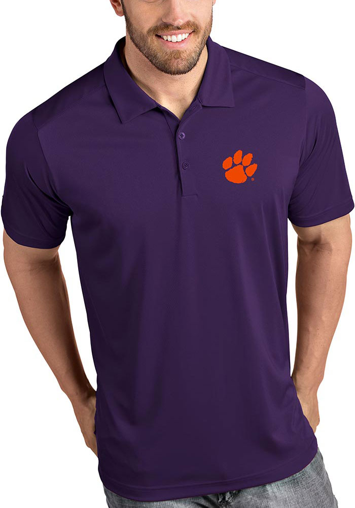 Antigua Clemson Tigers Mens Purple Tribute Short Sleeve Polo - Image 1