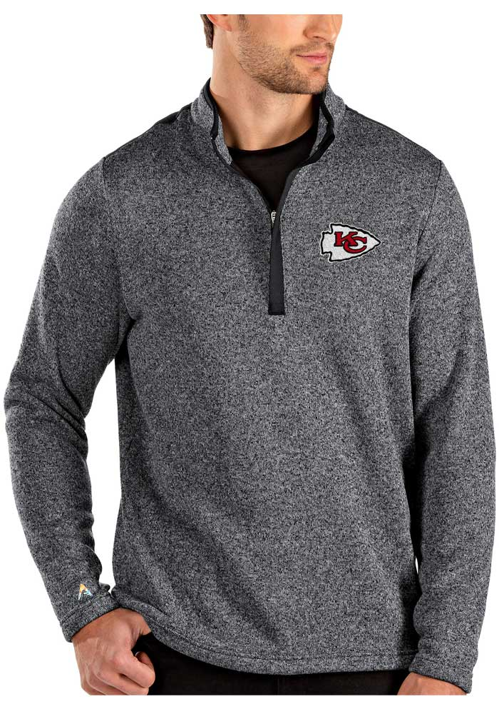 Antigua Kansas City Chiefs Mens Grey Clover Long Sleeve 1/4 Zip Pullover - Image 1
