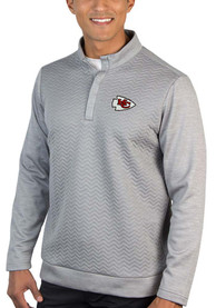 Antigua Kansas City Chiefs Grey Analog 1/4 Zip Pullover