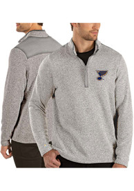 Antigua St Louis Blues Grey Clover 1/4 Zip Pullover