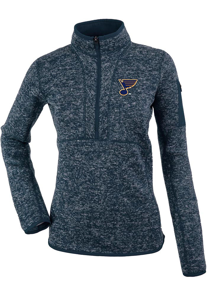 Antigua St Louis Blues Womens Navy Blue Fortune 1/4 Zip Pullover - Image 1