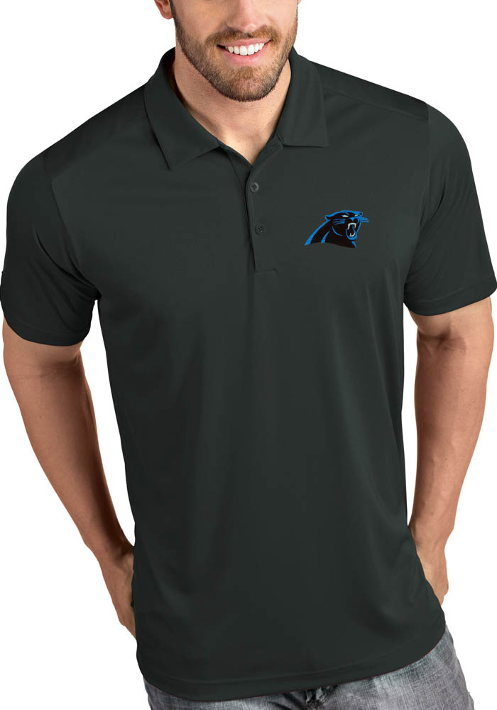 Antigua Carolina Panthers Mens Grey Tribute Short Sleeve Polo - Image 1