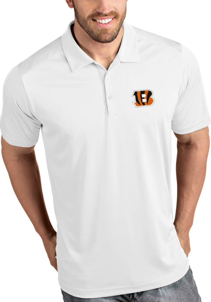 Antigua Cincinnati Bengals Mens White Tribute Short Sleeve Polo - Image 1