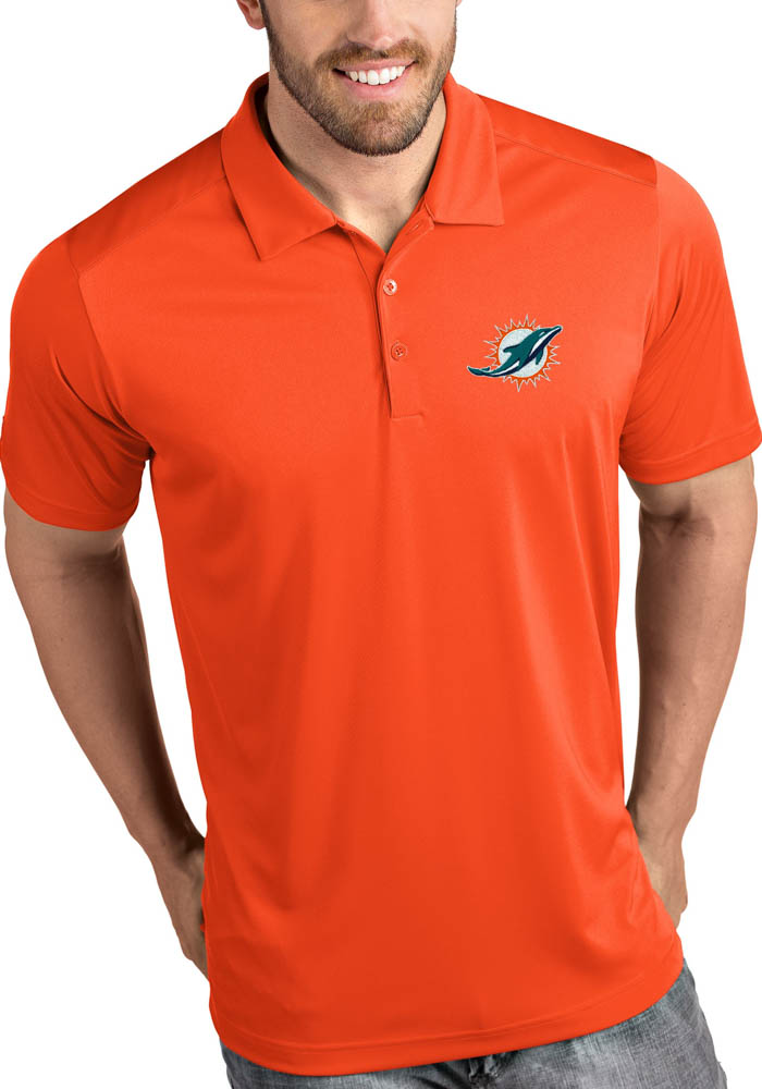 Miami Dolphins Mens Orange Tribute Short Sleeve Polo - Image 1