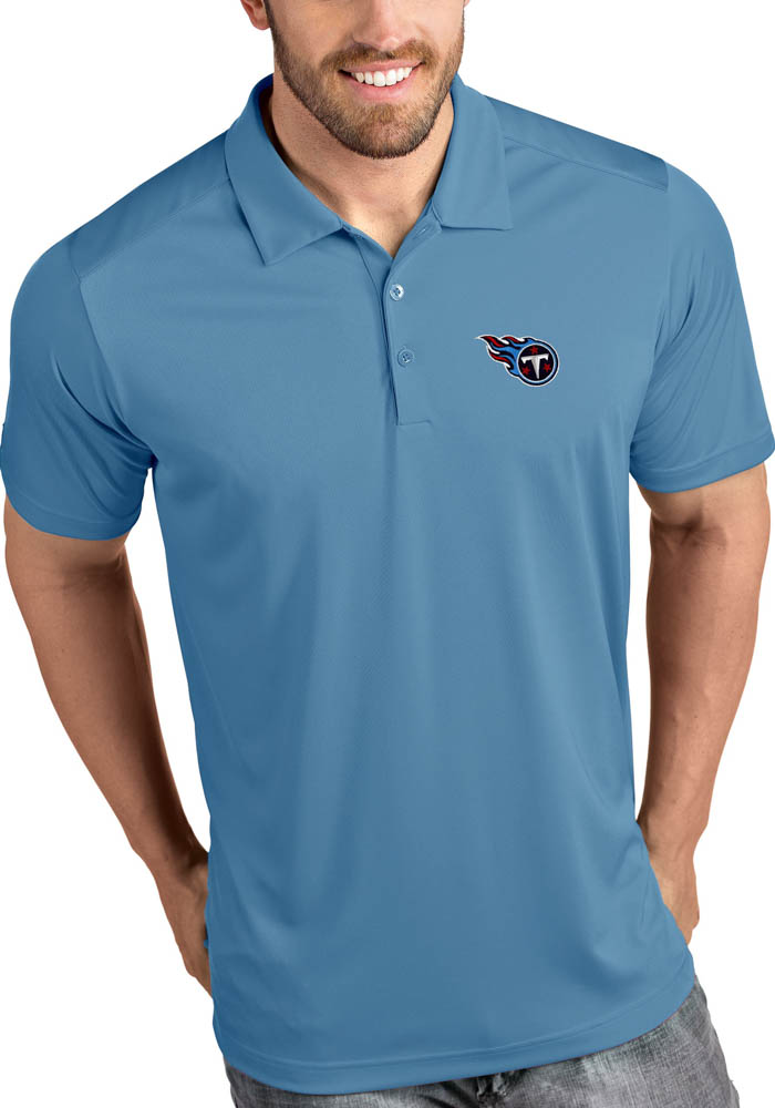 Antigua Tennessee Titans Mens Blue Tribute Short Sleeve Polo - Image 1