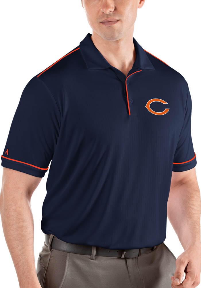 Antigua Chicago Bears Mens Navy Blue Salute Short Sleeve Polo - Image 1