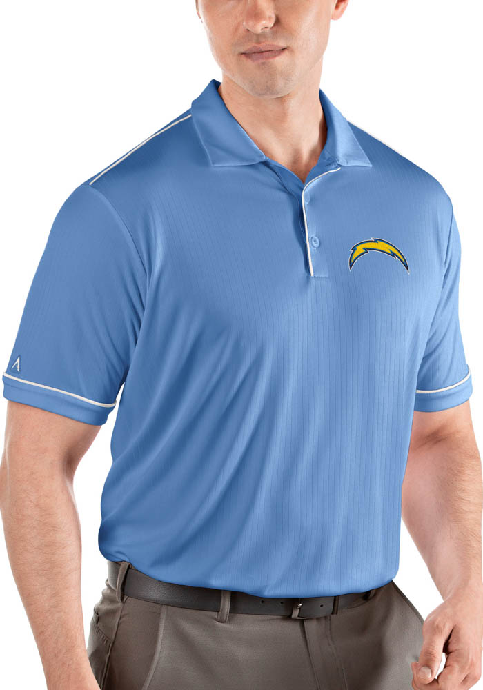 Antigua Los Angeles Chargers Mens Blue Salute Short Sleeve Polo - Image 1