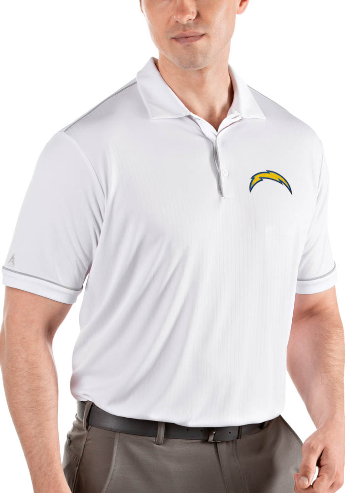 Antigua Los Angeles Chargers Mens White Salute Short Sleeve Polo - Image 1