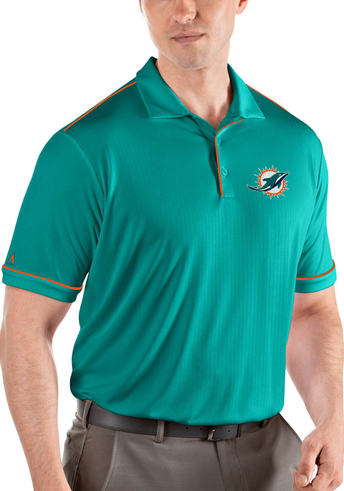 Miami Dolphins Mens Teal Salute Short Sleeve Polo - Image 1