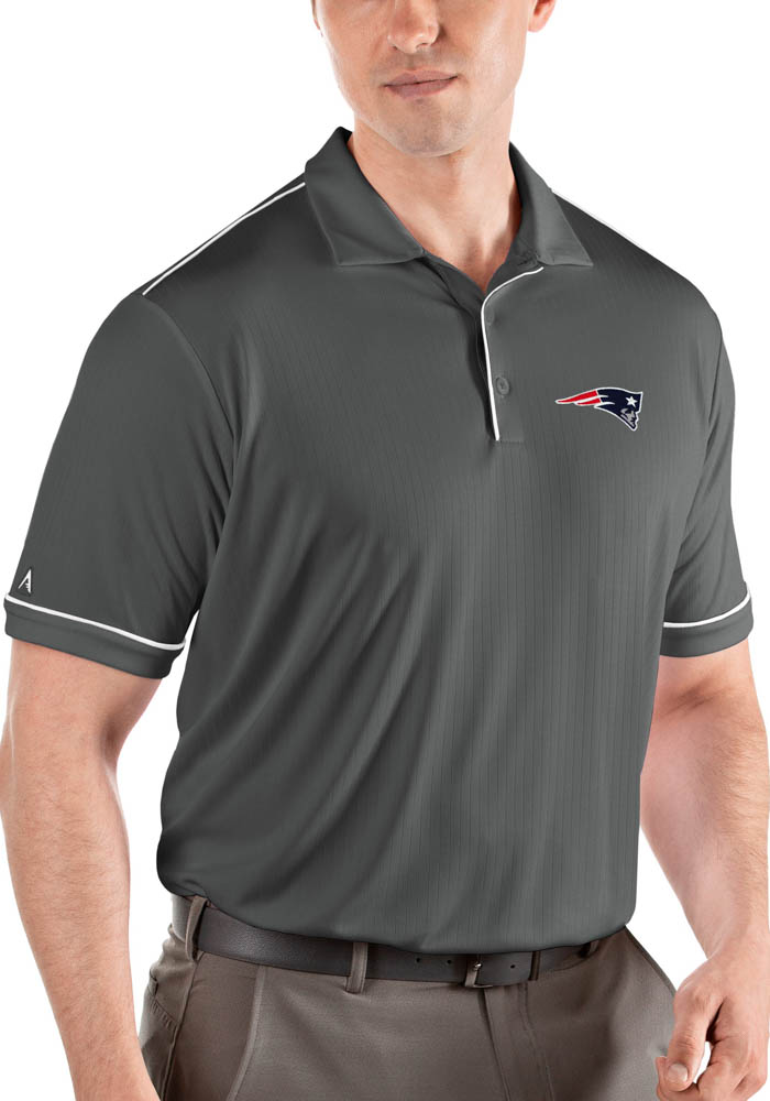 New England Patriots Mens Grey Salute Short Sleeve Polo - Image 1