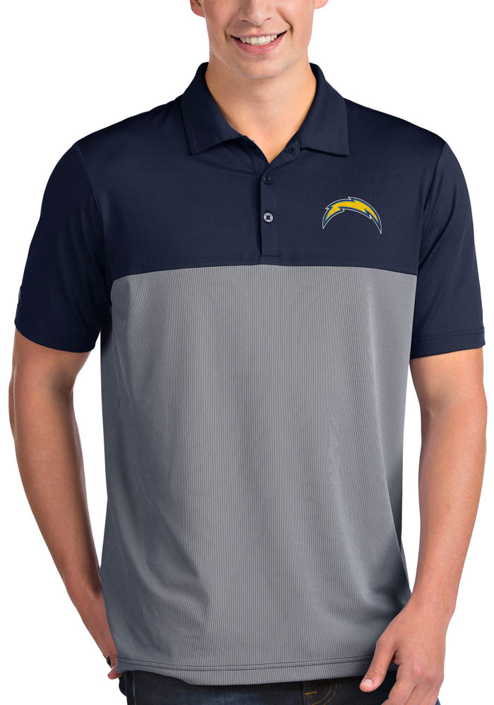 Antigua Los Angeles Chargers Mens Navy Blue Venture Short Sleeve Polo - Image 1