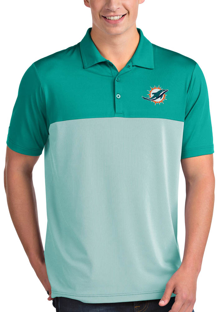 Miami Dolphins Mens Teal Venture Short Sleeve Polo - Image 1