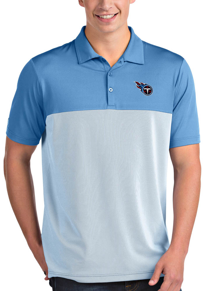 Antigua Tennessee Titans Mens Blue Venture Short Sleeve Polo - Image 1