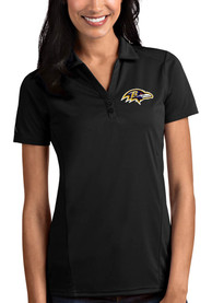 Baltimore Ravens Womens Antigua Tribute Polo Shirt - Black