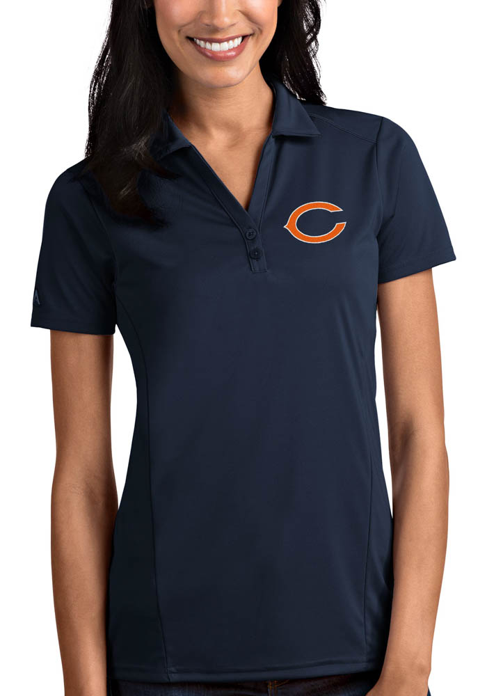 Chicago Bears Womens Navy Blue Tribute Short Sleeve Polo Shirt - Image 1