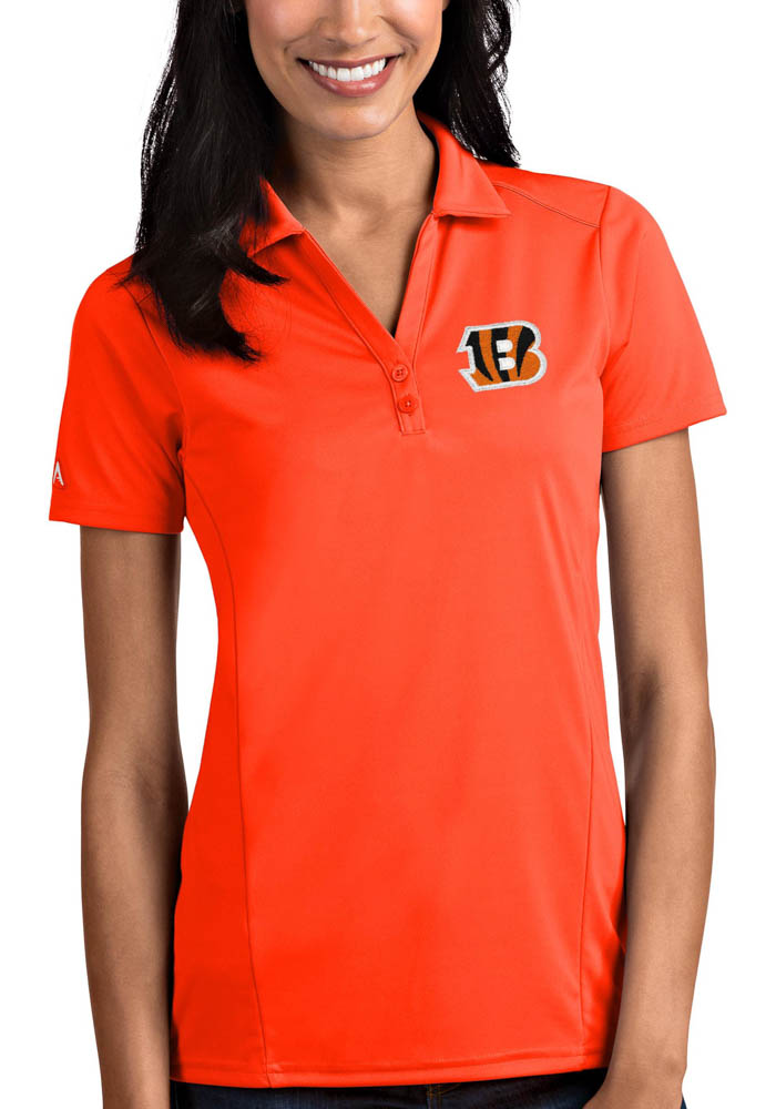 Antigua Cincinnati Bengals Womens Orange Tribute Short Sleeve Polo Shirt - Image 1