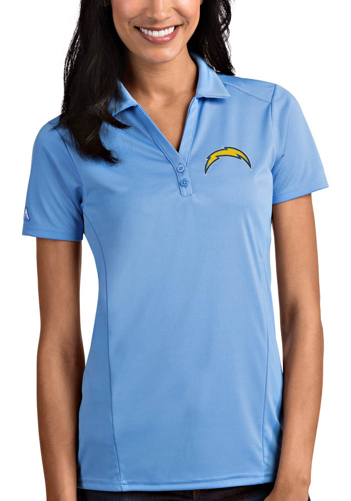 Antigua Los Angeles Chargers Womens Blue Tribute Short Sleeve Polo Shirt - Image 1