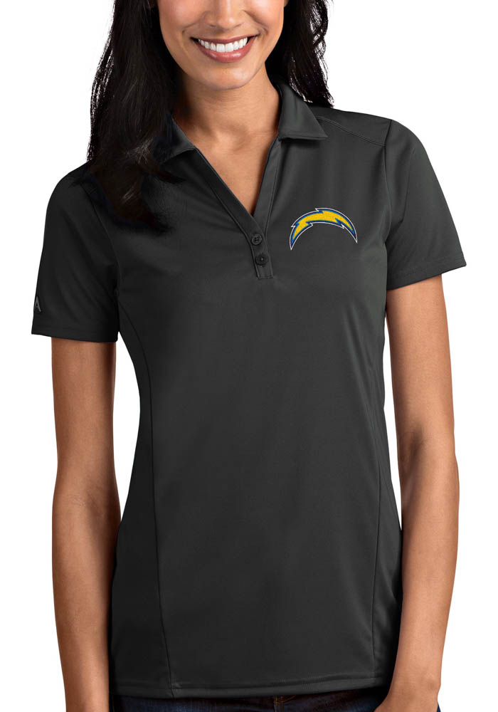 Antigua Los Angeles Chargers Womens Grey Tribute Short Sleeve Polo Shirt - Image 1