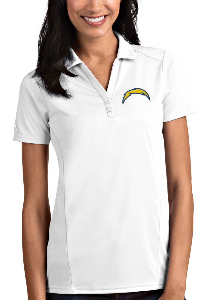Antigua Los Angeles Chargers Womens White Tribute Short Sleeve Polo Shirt - Image 1