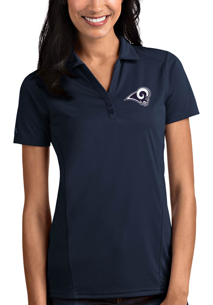 Antigua Los Angeles Rams Womens Navy Blue Tribute Short Sleeve Polo Shirt - Image 1