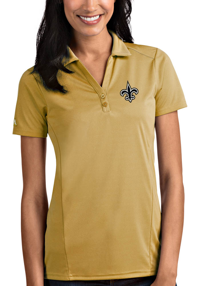 New Orleans Saints Womens Gold Tribute Short Sleeve Polo Shirt - Image 1