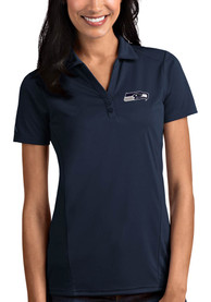 Seattle Seahawks Womens Antigua Tribute Polo Shirt - Navy Blue