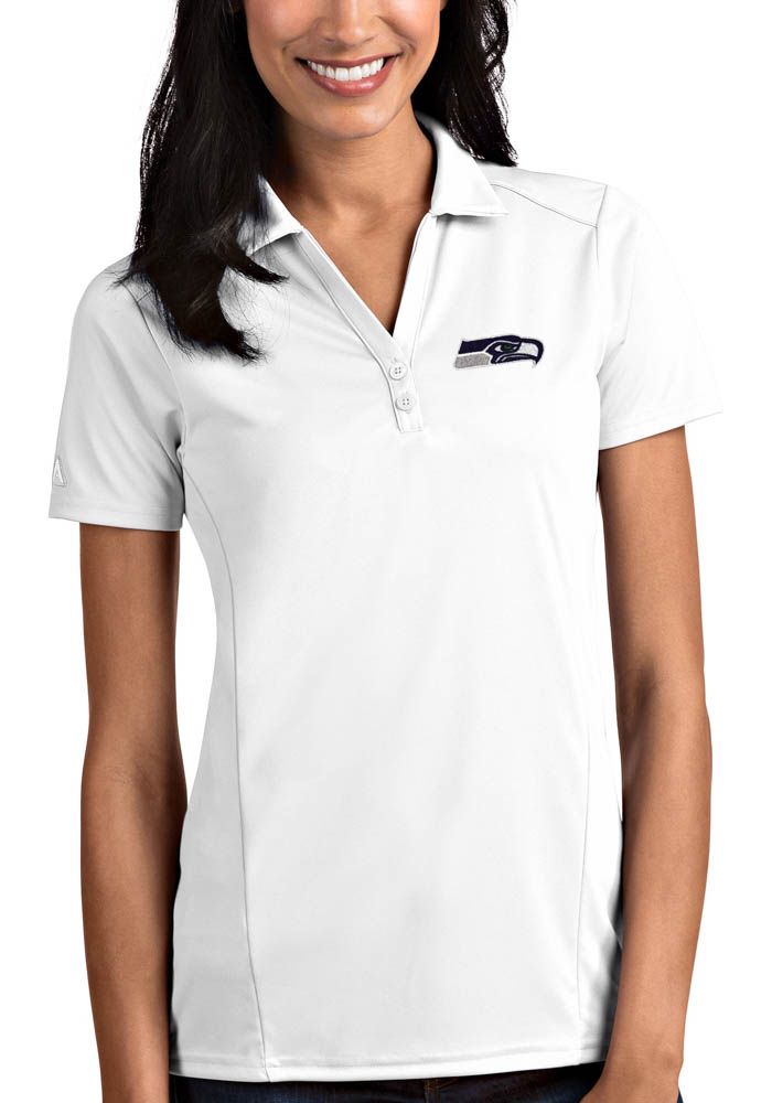 Antigua Seattle Seahawks Womens White Tribute Short Sleeve Polo Shirt - Image 1