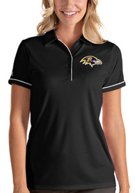 Baltimore Ravens Womens Antigua Salute Polo Shirt - Black