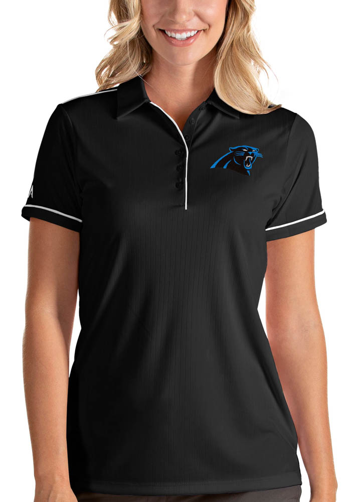 Carolina Panthers Womens Black Salute Short Sleeve Polo Shirt - Image 1