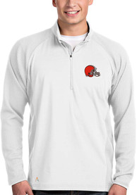 Antigua Cleveland Browns White Sonar 1/4 Zip Pullover