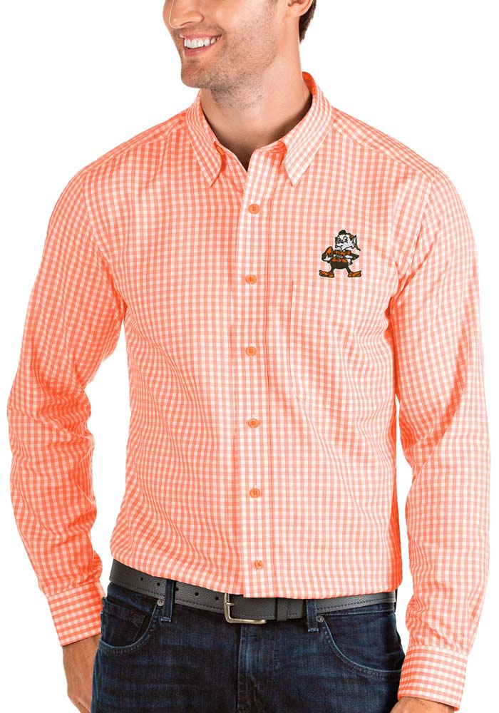 Antigua Cleveland Browns Mens Orange Structure Long Sleeve Dress Shirt - Image 1