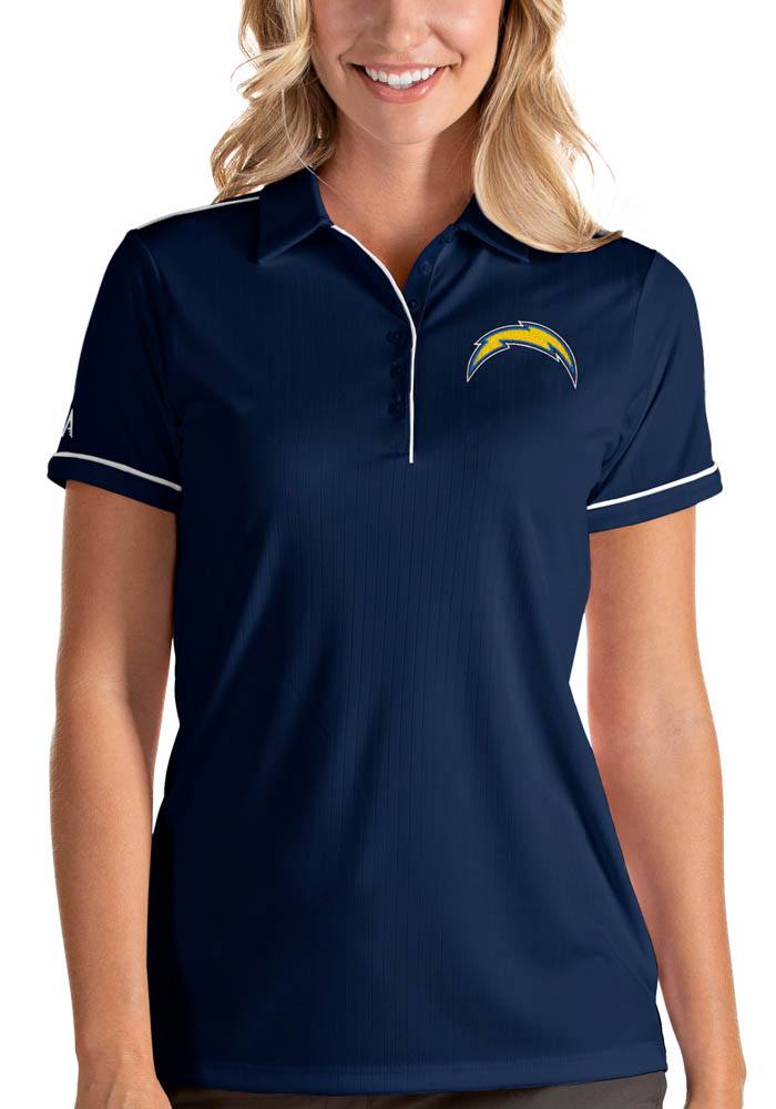 Antigua Los Angeles Chargers Womens Navy Blue Salute Short Sleeve Polo Shirt - Image 1