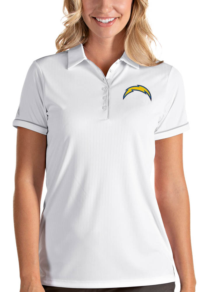 Antigua Los Angeles Chargers Womens White Salute Short Sleeve Polo Shirt - Image 1