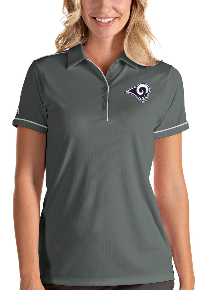Antigua Los Angeles Rams Womens Grey Salute Short Sleeve Polo Shirt - Image 1