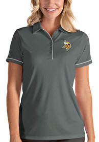 Minnesota Vikings Womens Antigua Salute Polo Shirt - Grey