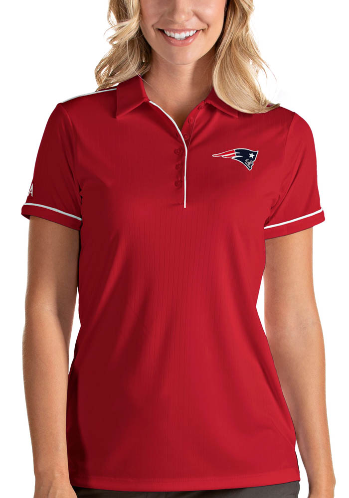 New England Patriots Womens Red Salute Short Sleeve Polo Shirt - Image 1