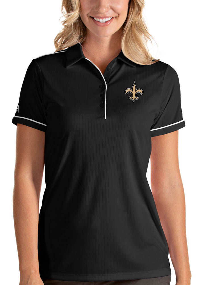 New Orleans Saints Womens Black Salute Short Sleeve Polo Shirt - Image 1