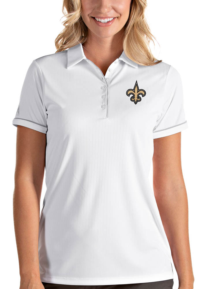 New Orleans Saints Womens White Salute Short Sleeve Polo Shirt - Image 1