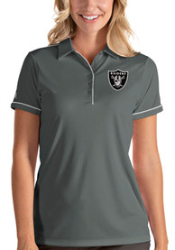 Las Vegas Raiders Womens Antigua Salute Polo Shirt - Grey