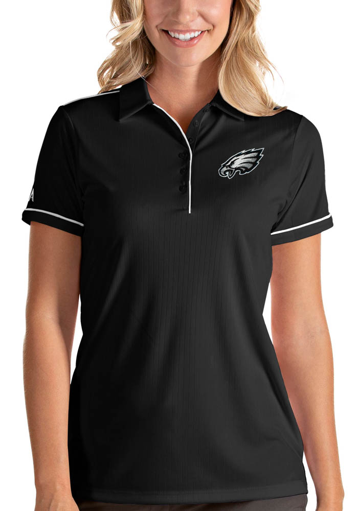 Philadelphia Eagles Womens Black Salute Short Sleeve Polo Shirt - Image 1